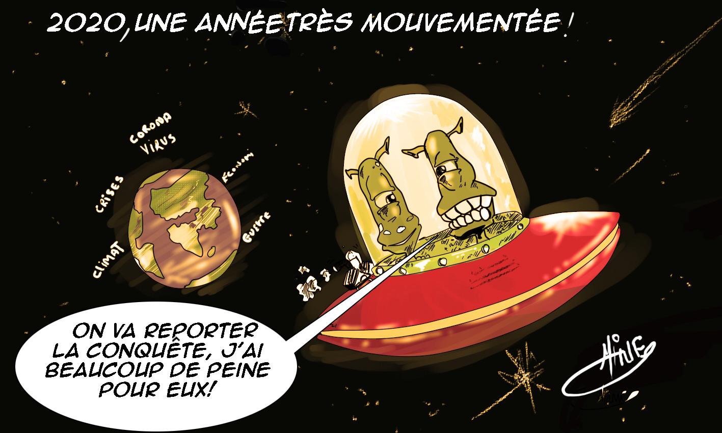 Caricature d'Amine Dahmane – Pandémie